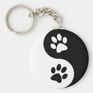 Yin Yang Hundetatzen Schlüsselanhänger