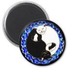 yin Yang-Kätzchenmagnet Runder Magnet 5,1 Cm