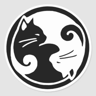 Yin Yang Katzen-Aufkleber Runder Aufkleber