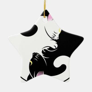 Yin Yang Katzen Keramik Stern-Ornament