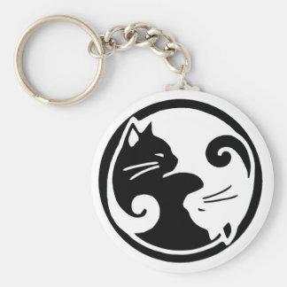Yin Yang Katzen Keychain Standard Runder Schlüsselanhänger