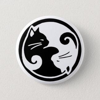 Yin Yang Katzen Runder Button 5,1 Cm