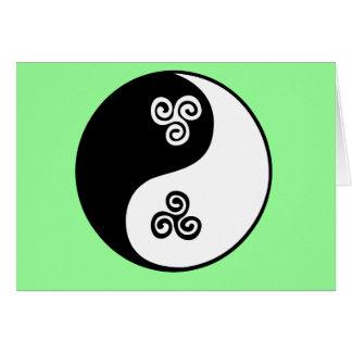 Yin Yang keltische Tri Spirale Karte
