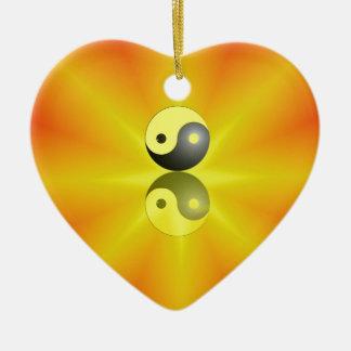 Yin Yang Keramik Herz-Ornament
