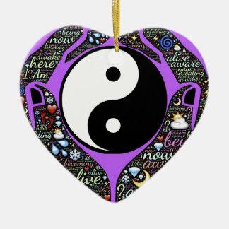 Yin, Yang Keramik Herz-Ornament