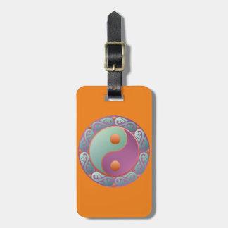 Yin Yang Medaillon-Veilchen-Türkis Gepäckanhänger