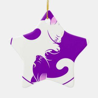 Yin Yang Miezekatze Keramik Stern-Ornament