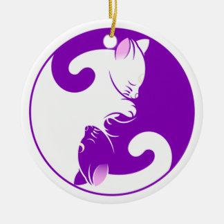 Yin Yang Miezekatze Rundes Keramik Ornament