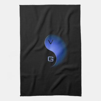 yin Yang-Monogramm - Blau Handtuch