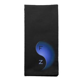 yin Yang-Monogramm - Blau Stoffserviette