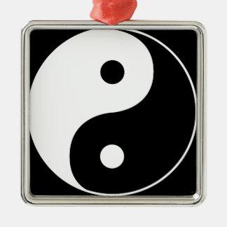 Yin Yang Quadratisches Silberfarbenes Ornament