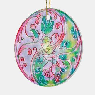 Yin Yang Rosen Keramik Ornament