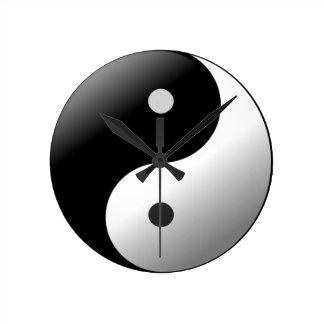 Yin Yang Runde Wanduhr