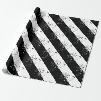 Yin Yang Schwarz-weiße Lotos-Blüte Geschenkpapier