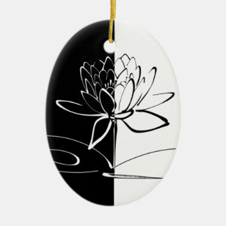 Yin Yang Schwarz-weiße Lotos-Blüte Keramik Ornament