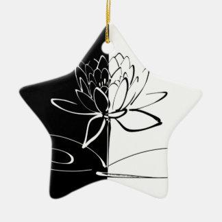 Yin Yang Schwarz-weiße Lotos-Blüte Keramik Stern-Ornament