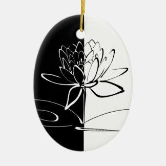 Yin Yang Schwarz-weiße Lotos-Blüte Ovales Keramik Ornament