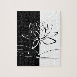 Yin Yang Schwarz-weiße Lotos-Blüte Puzzle