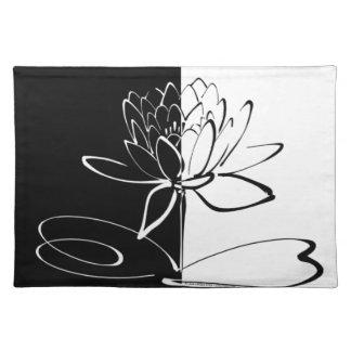 Yin Yang Schwarz-weiße Lotos-Blüte Stofftischset