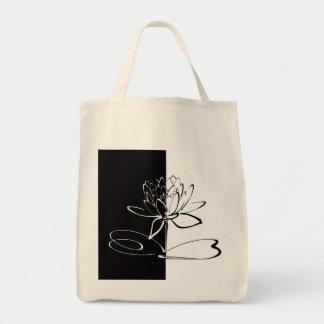 Yin Yang Schwarz-weiße Lotos-Blüte Tragetasche