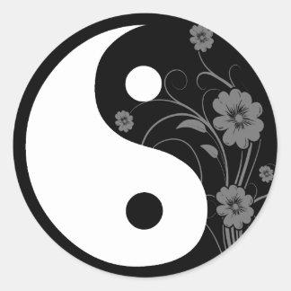 Yin Yang schwarzer Blumenaufkleber