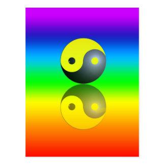 Yin & Yang Symbol auf Chakra Farben Motiv 1 Postkarte