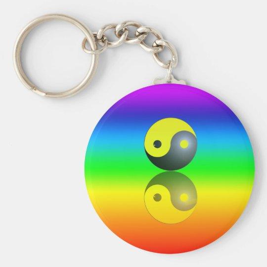 Yin & Yang Symbol auf Chakra Farben Motiv 1 Schlüsselanhänger