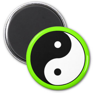 Yin Yang Symbol-Chartreuse Grün Runder Magnet 5,7 Cm