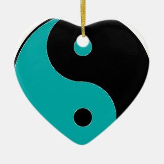 YIN YANG Symbol Keramik Herz-Ornament