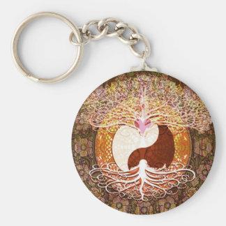 Ying Yang Herz-Baum des Lebens Standard Runder Schlüsselanhänger