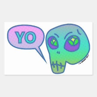 """""""Yo"""" bedeutet """"hallo"""" im alien Rechteckiger Aufkleber"""