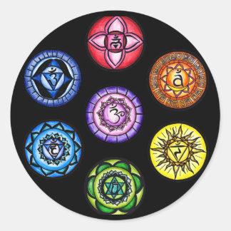 Yoga - 7 Chakras Energie Runder Aufkleber