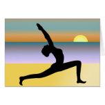 Yoga an der Strand-Gruß-Karte