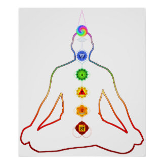 Yoga Asana Siddhasana Pose mit 7 Chakras Plakatdruck