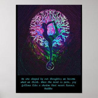 Yoga-Baum - Buddha-Zitat Poster