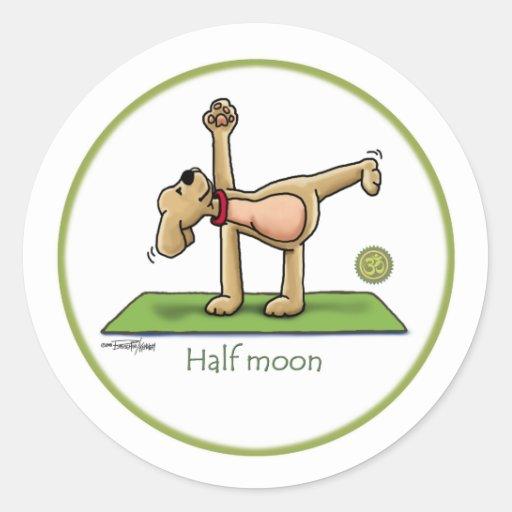 Yoga - Halbmond Runder Aufkleber