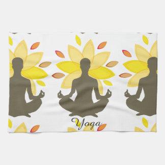 Yoga-Illustration goldenes Lotus Küchentuch