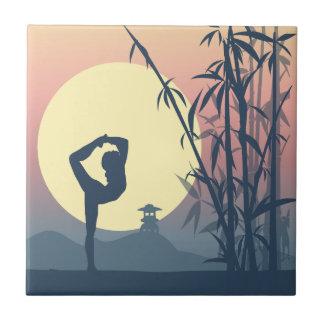 Yoga im Nebel Fliese
