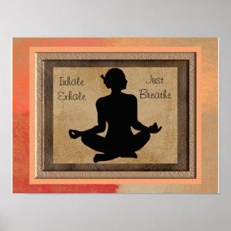 Yoga inspirierter Kunst-Druck - atmen Sie einfach Poster