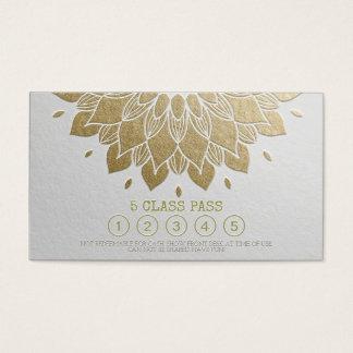 Yoga-Klassen-Durchlauf-weißes Goldprägeartige Visitenkarte