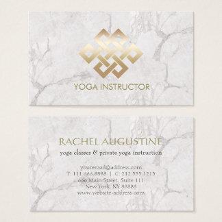 Yoga-Lehrer-Goldewigkeits-Knoten u. weißer Marmor Visitenkarte