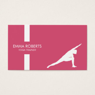 Yoga-Lehrer-Modernes Streifen-Ebenen-Rosa Girly Visitenkarten
