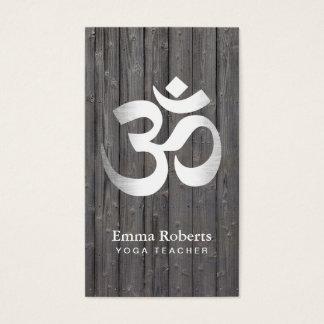 Yoga-Lehrer-Silber-OM-Symbol nobles Holz Visitenkarte