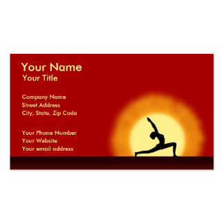 Yoga-Lehrer-Sonnenaufgang-Pose-horizontale Visitenkarten