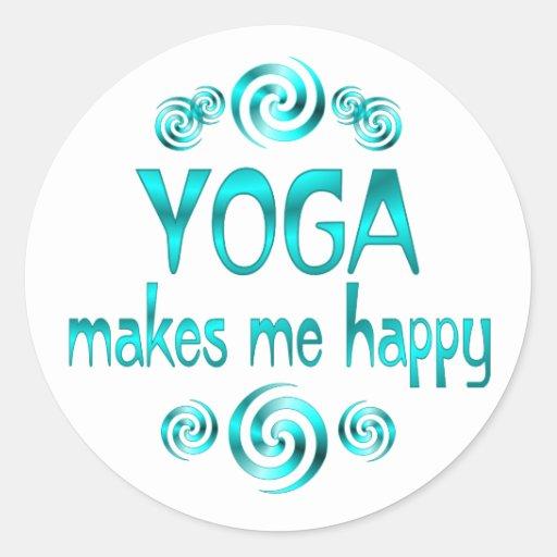Yoga macht mich glücklich runde sticker