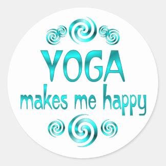 Yoga macht mich glücklich runder aufkleber