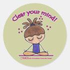 Yoga Mädchen-Klar Ihr Verstand Runder Aufkleber
