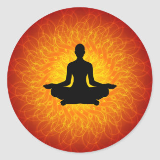 Yoga - Meditation auf Mandala Runde Sticker