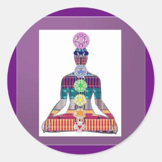 Yoga-Meditation Chakra Schein-heilende Energie Runder Aufkleber