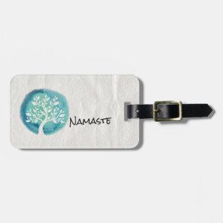 Yoga-Meditations-Lehrer-eleganter Aquarell-Baum Gepäckanhänger